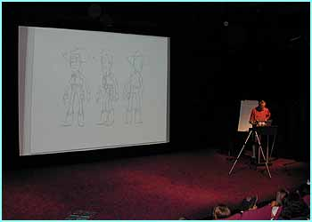 Bud Luckey, a top animator who designed Woody from Toy Story, gave a workshop for kids at a theatre in London. Here he introduces some of his original sketches of Woody