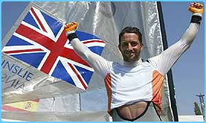 Ben Ainslie celebrates winning his second ever Olympic gold