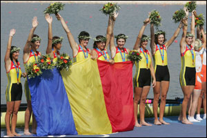Romania are awarded gold in the women's eight