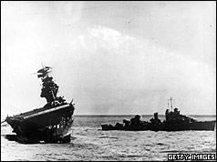 USS Yorktown listing badly