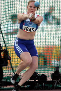 Britain's Shirley Webb competes in the women's hammer throw qualifying event