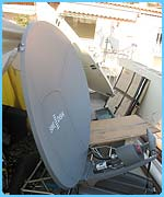 The satellite sends the pictures and sound to the BBC in London