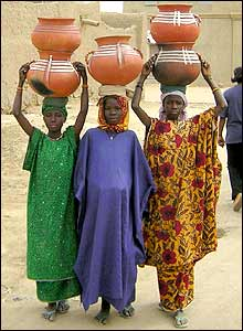 Girls carrying pots on their heads