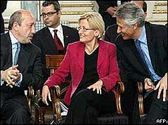 Anna Lindh with French and Russian foreign ministers