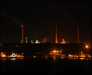 The Texaco Pembroke refinery and Jetty taken at night  from across the water in Milford Haven from the Rath. (Eddie Davies)