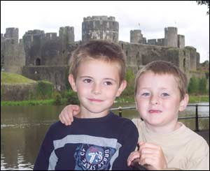 Debbie from Church Village took this picture of her sons Jordan and Samuel outside Caerphilly Castle