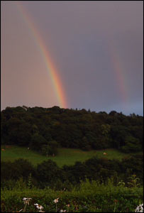 A double rainbow near Corwen, taken as heavy showers are mixed with bright sunshine (Mike Clemens)
