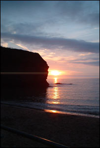 Sara Long's favourite place in Wales - Llangranog beach, at sunset