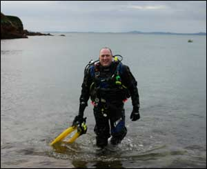 Lee Morris, living in Bromsgrove, after a dive at St Brides