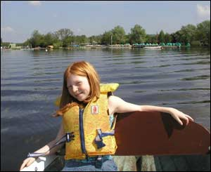 Nick Morgan's daughter Sarah from Caerleon enjoying a trip on Llangors Lake
