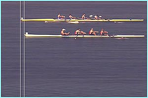 This photo finish shot shows how close the coxless fours race was as Great Britain's boat crosses the line 0.08 seconds ahead of the Canadian crew.