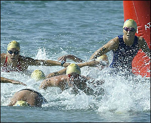 Michelle Dillon competes in the triathlon