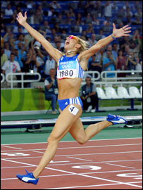 Fani Halkia of Greece celebrates her victory