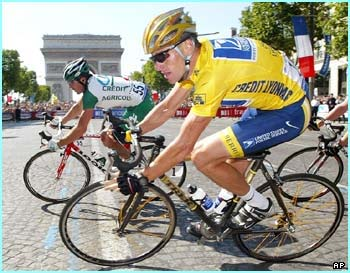 Lance Armstrong on the 2004 Tour de France