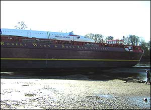 Concorde on its barge