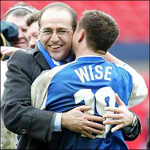 Paphitis is clearly delighted with Wise after Millwall's win