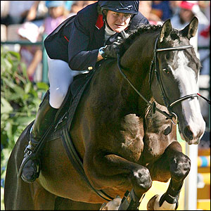 Kate Allenby struggles in the showjumping