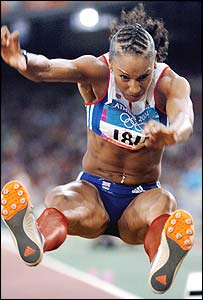 Jade Johnson in action during the long jump final