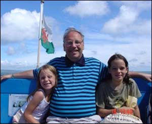 Alan Jarvis and his two grandchildren Chessie and Shannon on the way to Caldey Island