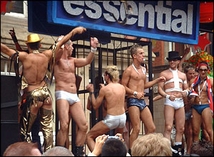 Dancers on the Essential float at Manchester Pride