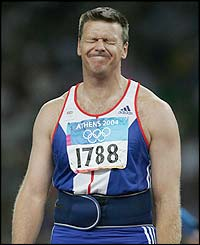 Steve Backley misses out on a medal