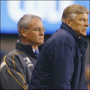 Claudio Ranieri and Arsene Wenger look on as their sides do battle in the Champions League