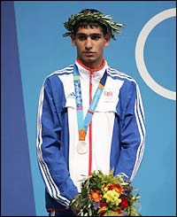 Amir Khan gets his silver medal in the men's lightweight division