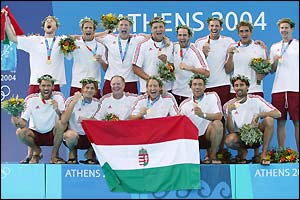 Hungary celebrate after winning gold in the water polo