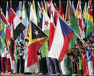 Each nation is represented at the closing ceremony