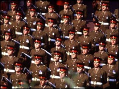 Soldiers march at the state funeral of Lord Mountbatten - September 1979