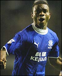 Joseph Yobo celebrates scoring for Everton