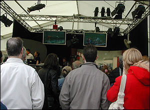 Visitors watch the boxing match