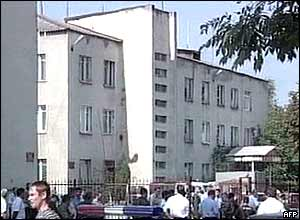 Television footage of the school in Beslan, North Ossetia