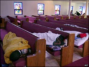 People taking shelter in Central Zion Baptist Church outside Freeport, Bahamas.