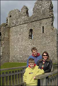 Kate, Ben and Toby at Ogmore Castle, sent by John Parker, from Heath
