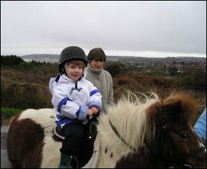 Anthony Phillip's daughter Sasha on her first riding lesson in Clyne, near Swansea
