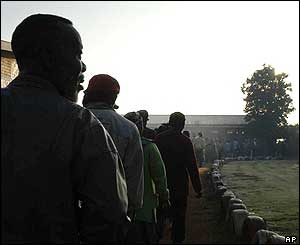 Voters queuing in Thokoza