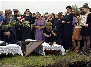 Burial of Tetova sisters in Beslan