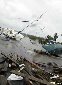 Sailboats washed onto a marina in the aftermath of Hurricane Frances in Fort Pierce