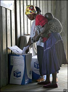 Voting in Vlakfontein, South Africa
