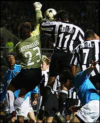 Gary Speed scores the winning goal for Newcastle