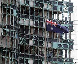 Broken windows in the Australian embassy