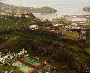 An overhead view of the damage caused to the island of Grenada by Hurricane Ivan