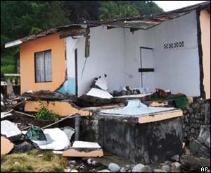 A damaged house in Kingstown, St Vincent