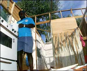 A man returns to his devastated house in St Philip Parish, Barbados