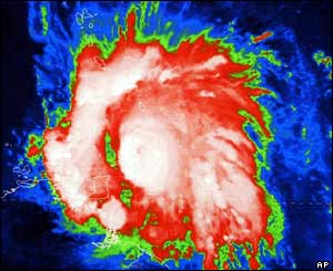 An infra-red satellite image of hurricane Ivan