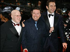 Ricky Gervais with Little Britain's Matt Lucas (left) and David Walliams