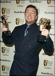 Ricky Gervais weighed down by awards