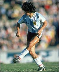 Diego Maradona competes in the 1982 World Cup in Spain