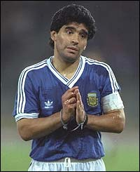 Maradona pleads with the referee during the 1990 World Cup final